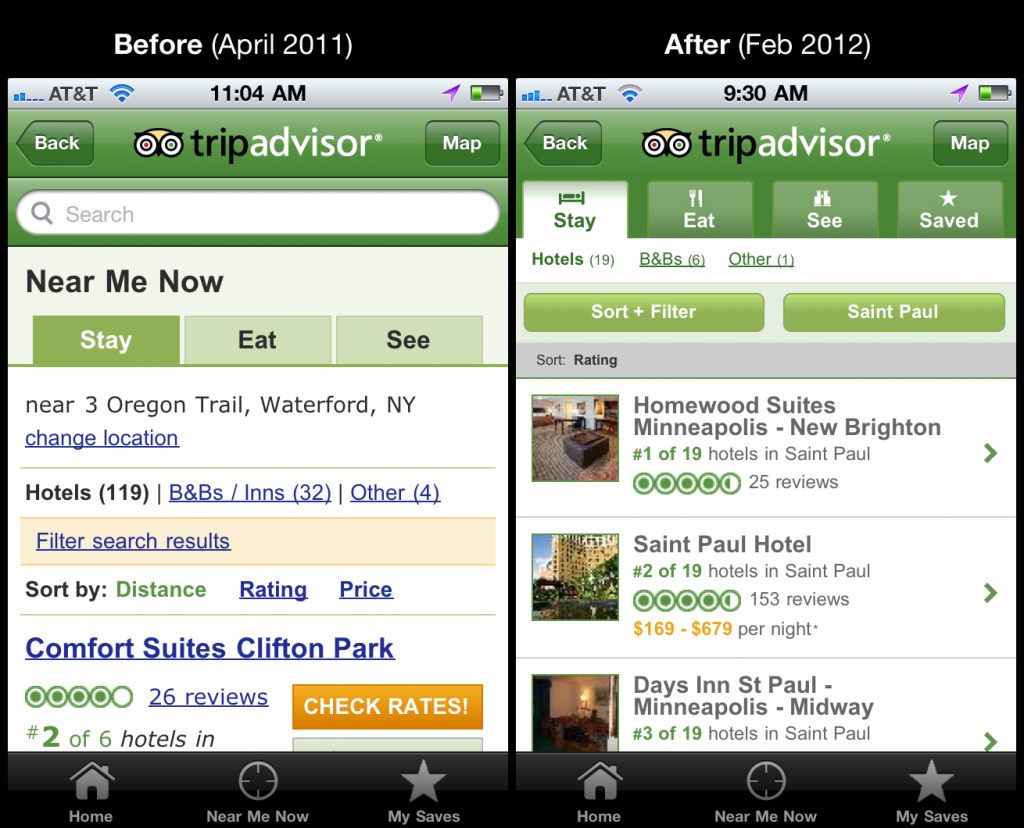 Before and After picture of the mobile experience